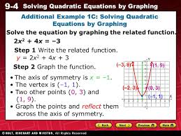 9 9 4 solving quadratic equations by graphing