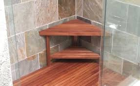 image of com 15 5 teak shower bench from the corner collection with regard