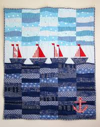 322 best Nautical Quilts & Stitchery images on Pinterest | Gift ... & Patchwork Quilt with Sailboats, Nautical Quilt, Nursery Quilt . Adamdwight.com