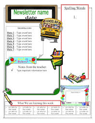 School Newsletter Template For Word Class Newsletter Template Word Template To Use When Writing