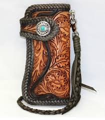 hand carved leather wallet hand tooled