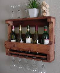 rustic 6 bottle wine rack with 4 glass slot holder and top shelf fantasy regard to 2