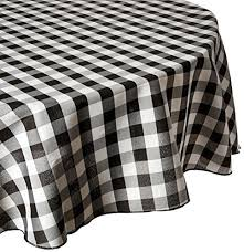linentablecloth 90 inch round polyester tablecloth black white checker kitchen dining k3gbirxd7