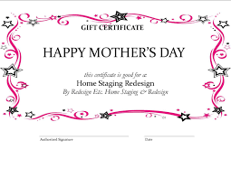 Mother Day Gift Certificates Gift Certificate Templates