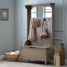 hall coat rack shelf entryway white metal storage bench and pictures with  tree mirror gray for