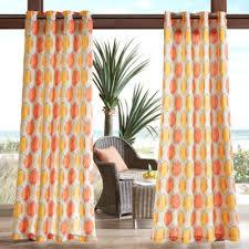 Madison Park Gaviota Circles 3M Scotchgard 84-Inch Grommet Top Outdoor  Curtain Panel in Orange
