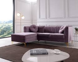 Stylish design furniture Grey Leather Image Stylish Design Furniture Modrest Rachel Modern Purple Velvet Sectional Sofa Stylish Design