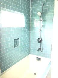 large subway tile shower bathroom blue glass ideas gray white bat