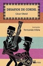 """Capa do livro """"Desafios de cordel"""": um fundo de listas coloridas traz, à frente, dois homens tocando instrumentos com os traços característicos do cordel"""