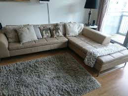 reduced to clear dwell vienna leather right hand corner sofa stone imate collection
