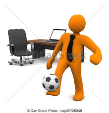 Manikin Office Notebook Football Orange Cartoon Character With