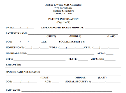 patient information form joshua l weiss m d patient forms