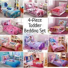 4pc Girls TODDLER BEDDING SET Comforter  Sheets Childs Bed Room in a Bag  Sheet