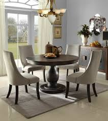 home elegance 2466 48 5 pc dandelion collection distressed dark brownish grey finish round dining table set