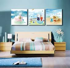 free 3 piece set white rabbit oil painting printed on canvas cartoon painting children s