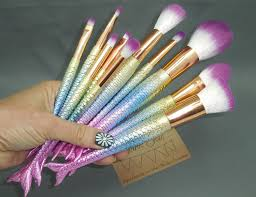 makeup brush bag kit with 10 pc pastel rainbow mermaid fish l make up sparkle glitter brushes set