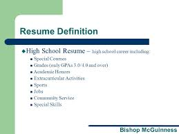 Resume Workshop A Presentation Brought To You By The Bishop Custom Resumé Definition