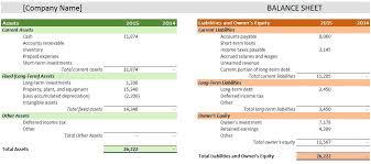 Business Financial Plan Template Excel Balance Sheet Example
