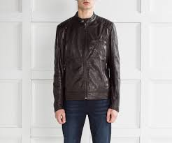 v racer leather jacket dark brown