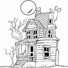 Small Picture Haunted House Halloween Coloring Pages For Kids Free Printable
