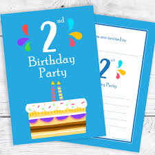 Birthday Invitations Boy 2nd Birthday Party Invitations 2 Candle Blue Cake Design With Envelopes Pack Of 10