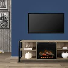 dimplex asher 65 in electric fireplace with logs in tudor oak with 23 in