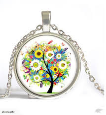 new cabochon glass silver pendant necklace living tree of life trade me