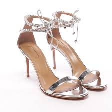 Details About Aquazzura Ankle Strap Sandal Size D 38 5 Silver Womens High Heels New Crillon