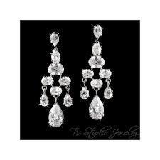 cz bridal chandelier earrings