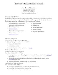 Sample Resume For Call Center Call Center Manager Resume Example Sample For Job Inside Art 8