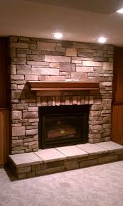 Attractive Gas Fireplace Inserts And Fireplace Hearth With Faux Stone For  Interior Design