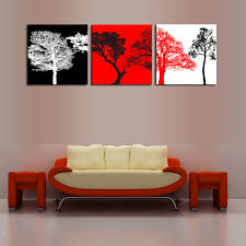 unframed 3 sets canvas painting red white black trees art picture home decor on canvas modern wall prints artworks in painting calligraphy from home
