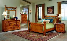 Metal Bedroom Furniture Sets Distressed Pine Finish Western Classic Bedroom W Metal Accents