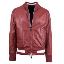 Bally Jacket Size Chart Bally Leather Reversible Zip Up Bomber Jacket Red