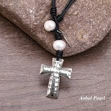 aobei pearl handmade necklace made of freshwater pearl genuine leather cord cross pendant and alloy accessory leather pearl necklace pendant necklace