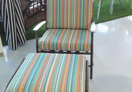 custom chair cushion in sunbrella canvas true blue with a milano scheme of small outdoor chair