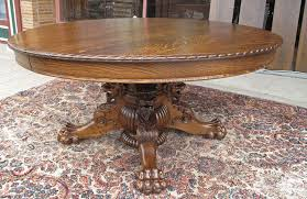 hastings antique oak dining table with lion and claw feet 60 diameter