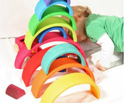 extra large rainbow blocks encourage hours of open ended play