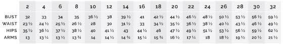 Prom Dress Size Chart