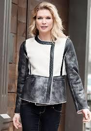 black faux leather sherpa moto jacket