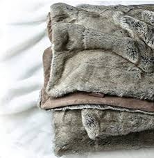 Grey Faux Fur Throw Blanket