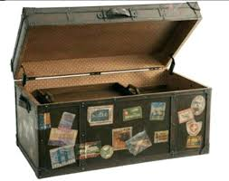 vintage traveling trunks coffee table or storage in my craft room refinish an old trunk and vintage traveling trunks