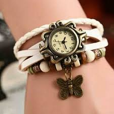 leather wrap watch erfly charm white