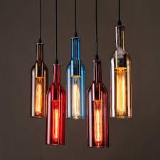 Decorative Wine Bottles With Lights Personalized LED Bottle pendant lights restaurants bars cafes 33
