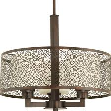 progress lighting mingle collection 3 light antique bronze pendant with natural parchment glass