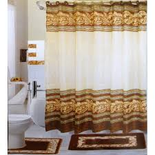 18 pc bath rug set chocolate leaves design bathroom shower curtain rings towels world s mart