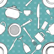 Seamless background with kitchen utensils and tableware Royalty Free