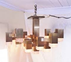 vintage lightolier gaetano sciolari cubic 16 bulb chandelier made in italy 26 inch square 16 inches tall 20 pounds