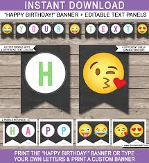 Emoji Party Pennant Banner Template | Happy Birthday Bunting