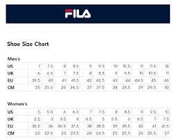 Fila Shoe Size Chart Fila Size Sale Up To 76 Discounts